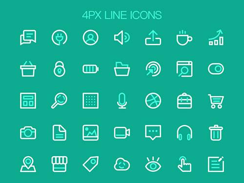 4x-line-flat-icon-set