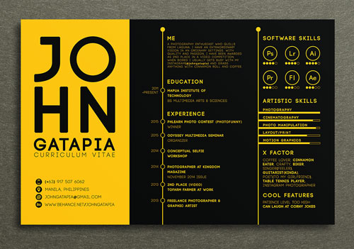 creative and simple resume design template for artist