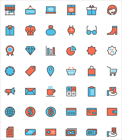 free-vector-flat-shopping-line-icon