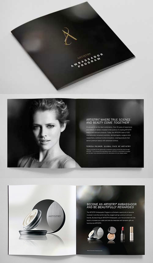 beauty brand bi fold brochure template design