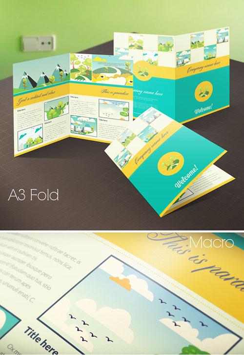 bi-fold-green-brochure-template-design