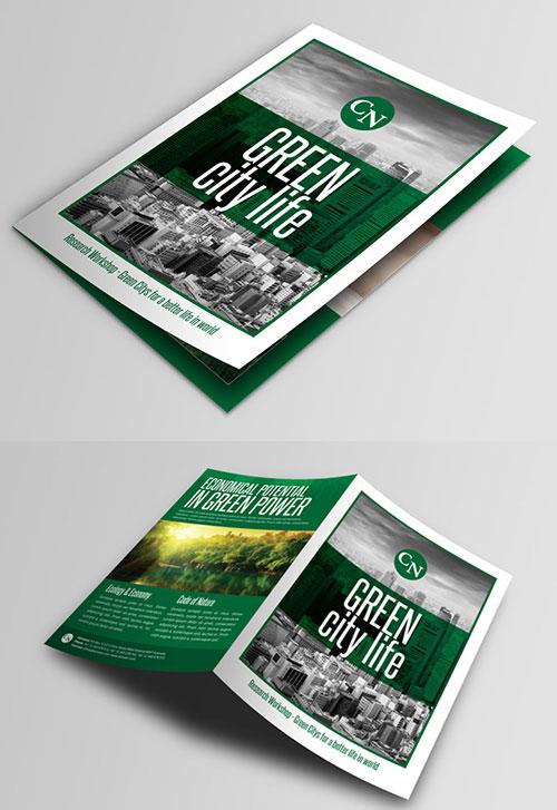 green-city-life-bi-fold-brochure-design