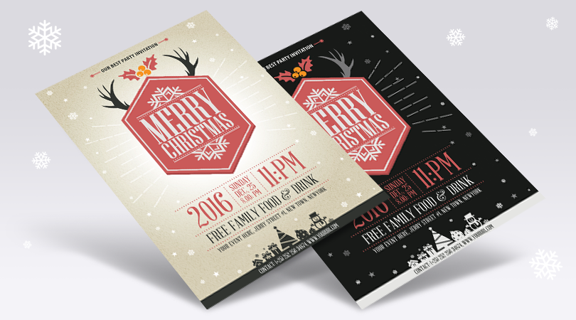 Free Vector Vintage Party Christmas Flyer Template Design