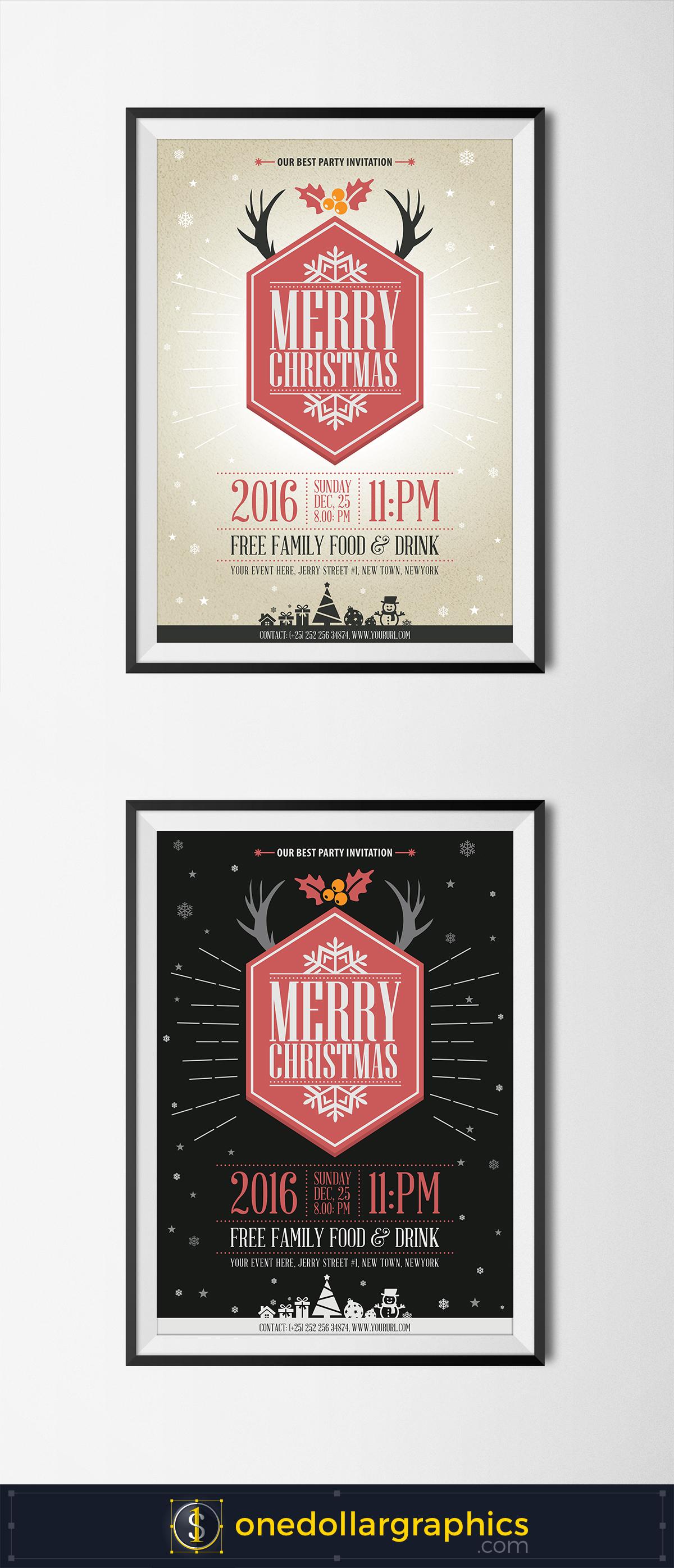 free-vintage-christmas-flyer-template-design