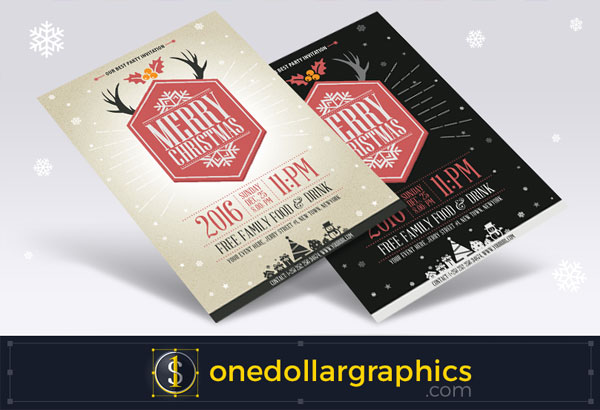 free-vector-vintage-party-christmas-flyer-template-design
