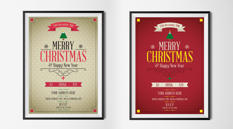 merry christmas happy new year flyer template preview