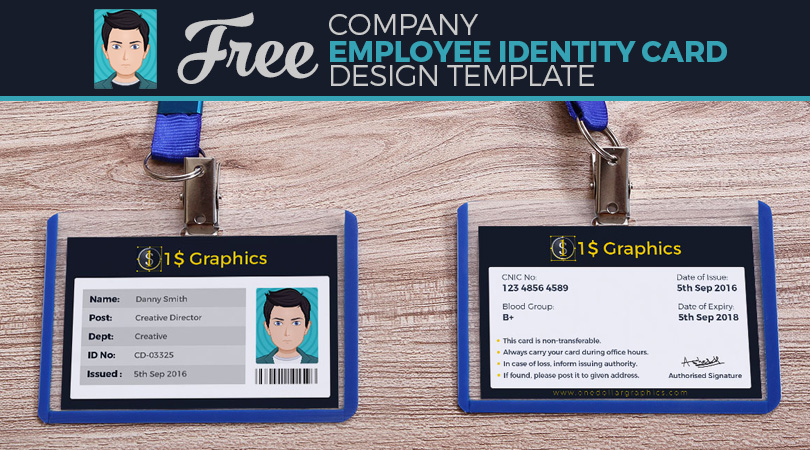 free company employee identity card design template  u2013 one