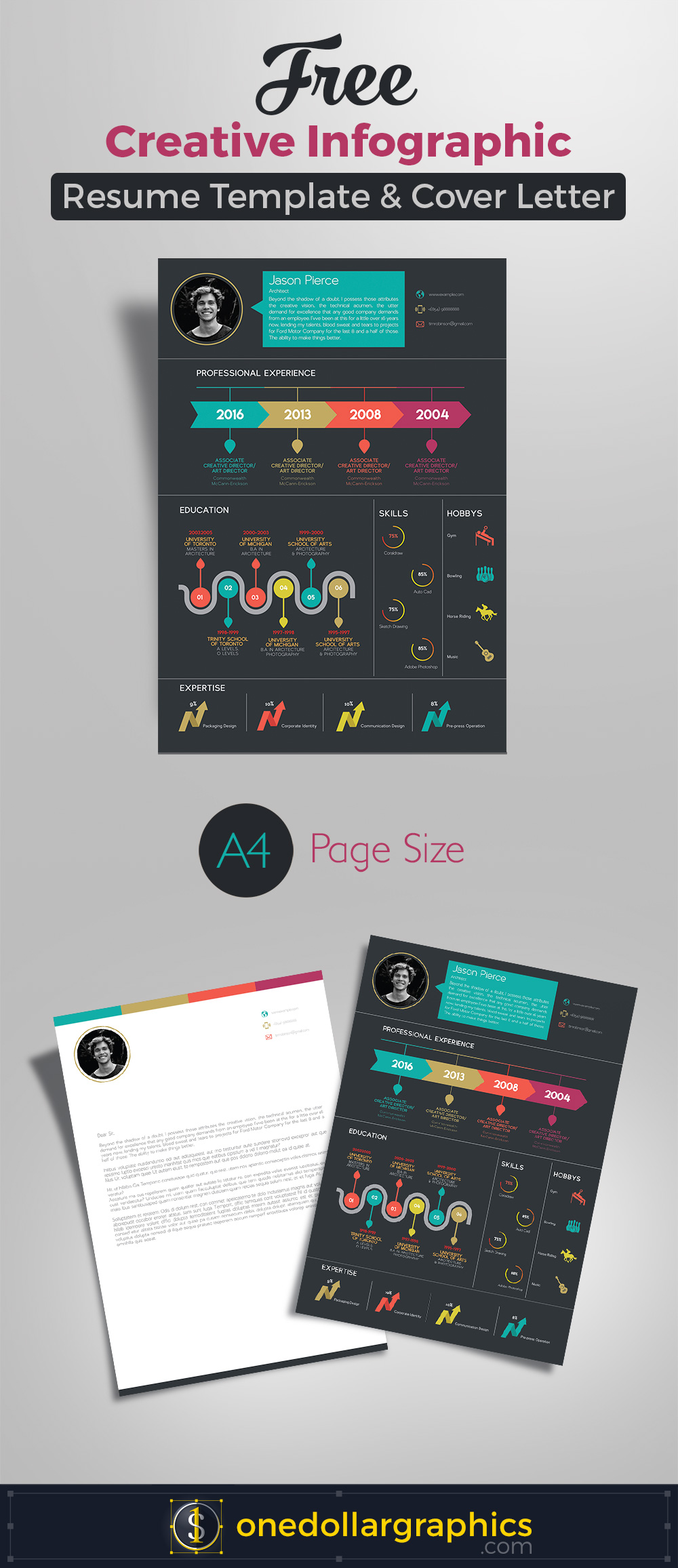 Free Creative Infographic Resume Template With Cover Letter INDD File
