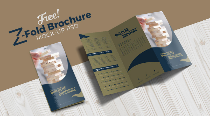 brochure mock up template - free z fold brochure mock up psd file