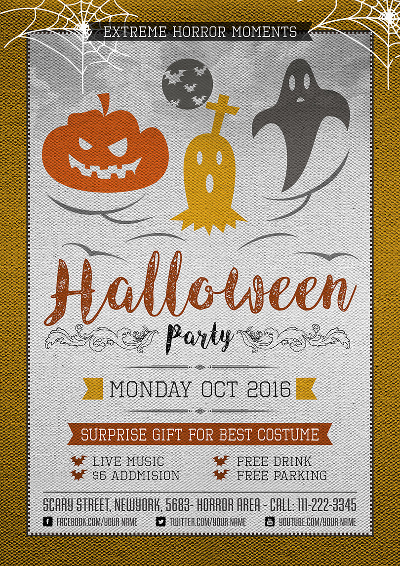 Halloween Horror Party Flyer Template – One Dollar Graphics
