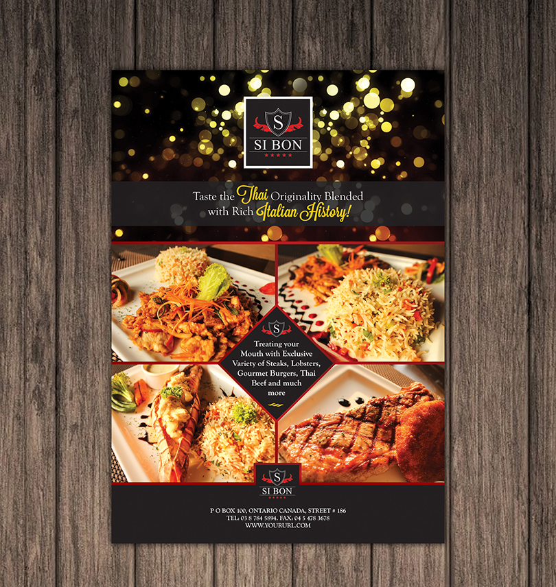 Hotel Restaurant Flyer Design Template One Dollar Graphics