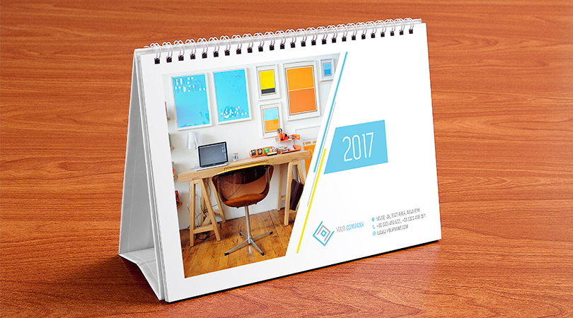 Table Calendar Mockup : Table calendar design template and mock up psd
