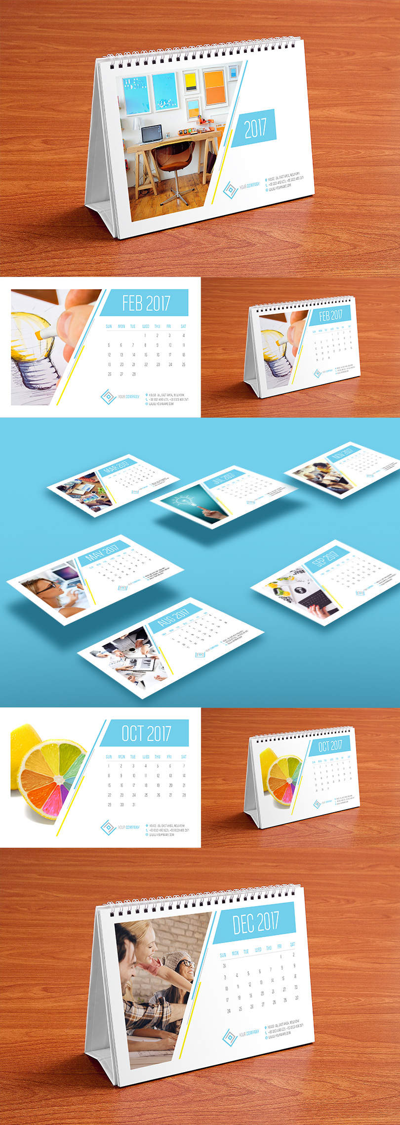 Calendar Design Pictures : Table calendar design template and mock up psd