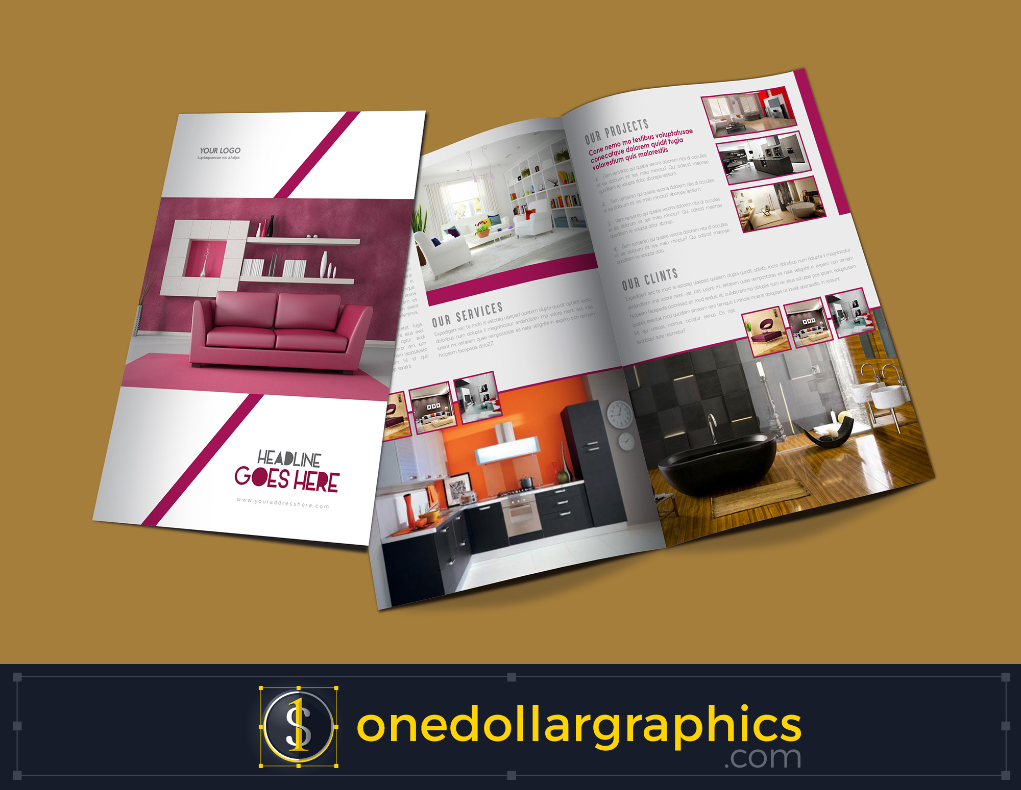 Bi fold interior brochure design template for One fold brochure template