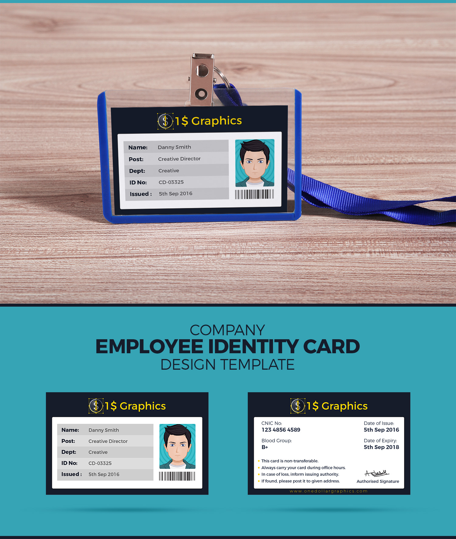 company employee identity card design template and mock up psd one