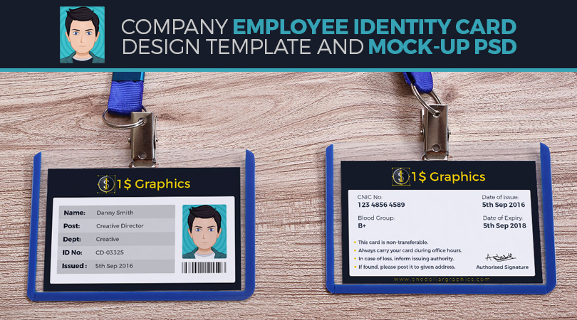 Company Employee Identity Card Design Template And Mock-Up Psd