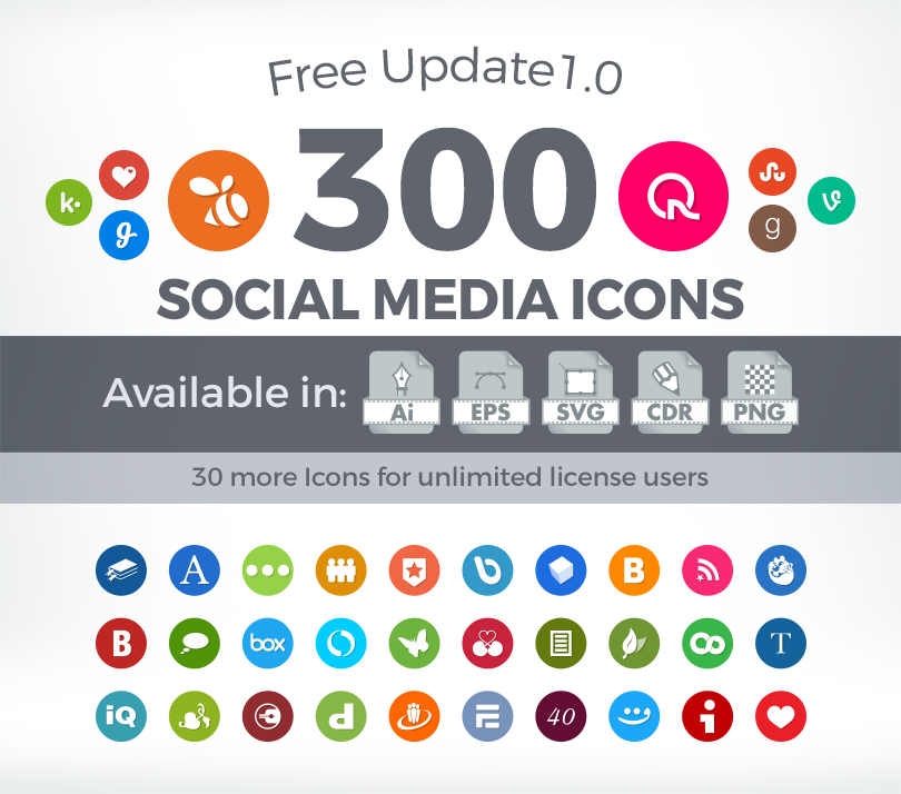 300 Vector Social Media Icons