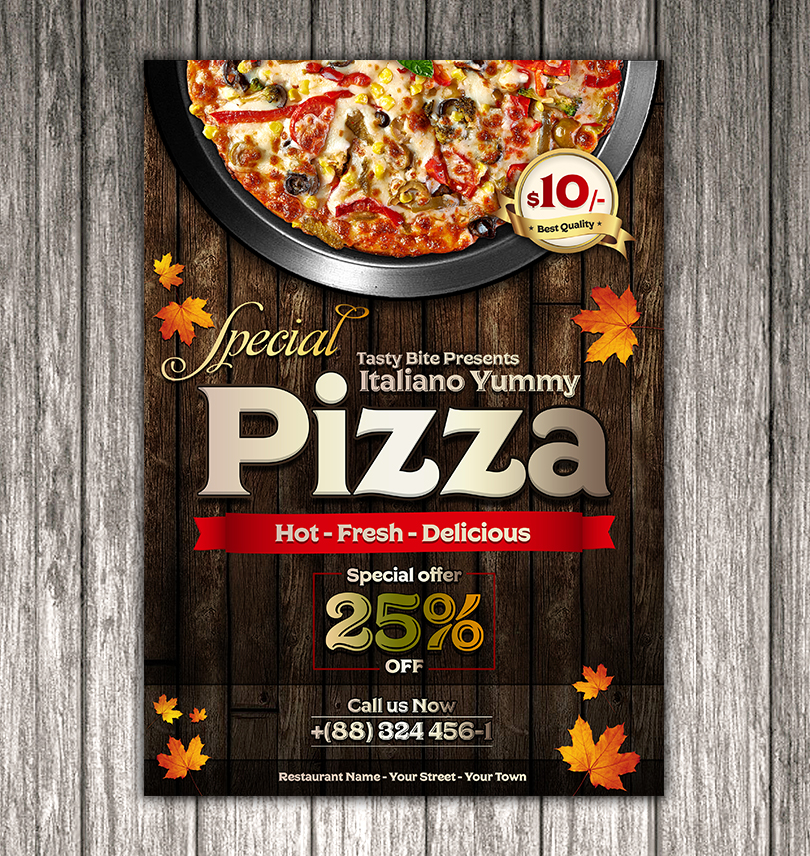vintage pizza flyer template design psd