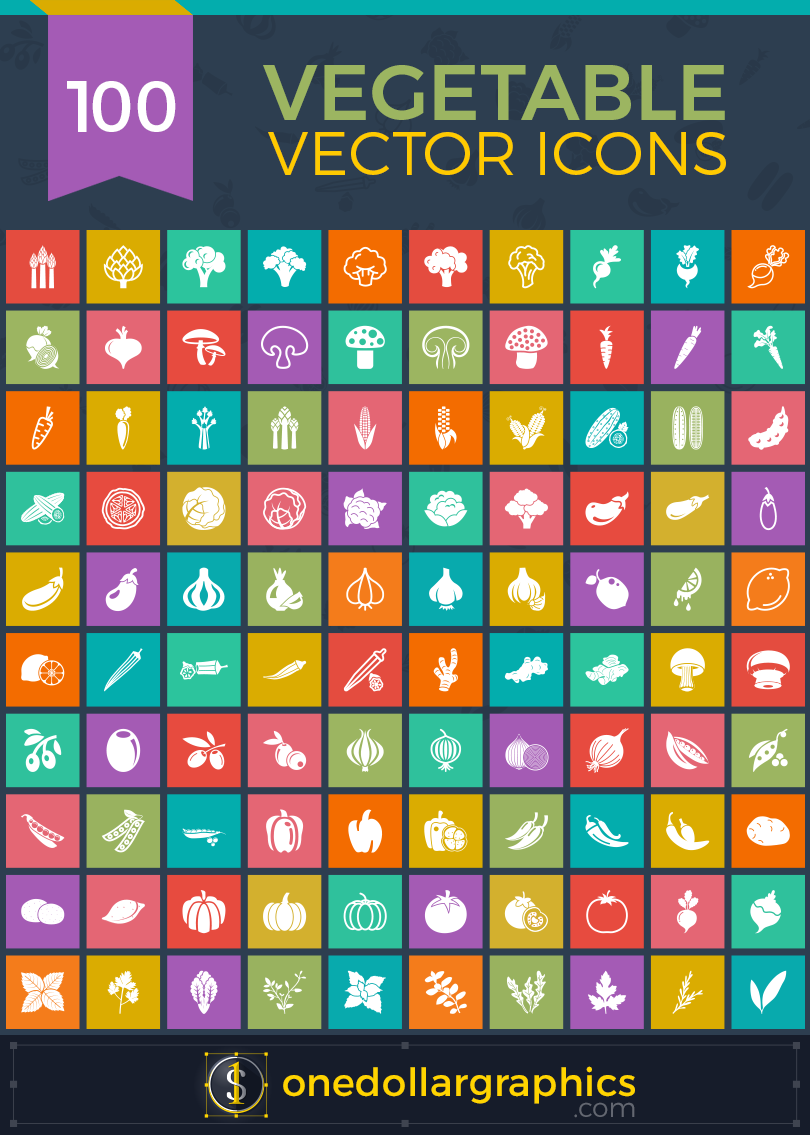 100-vegetable-vector-icons