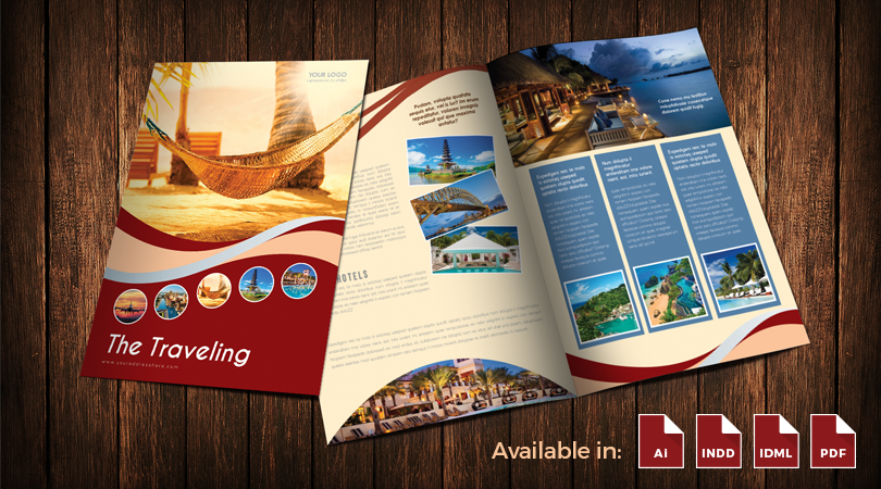 BiFold Travel Brochure Template Design In Illustrator Ai - Ai brochure template