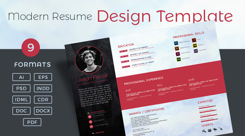 Modern Resume (CV) Design Template in PSD, Ai, EPS, INDD, CDR, DOC ...