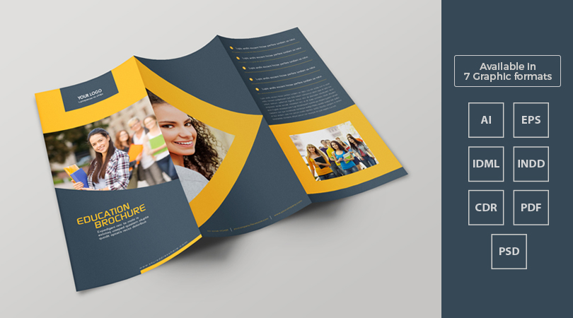Tri fold education brochure template design in ai eps for College brochure templates free download