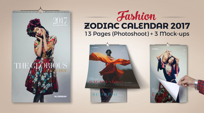 12 Zodiac Signs Fashion Wall Calendar Design Template 2017 Mock Up