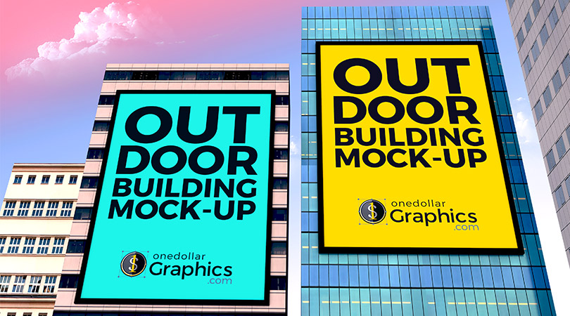 Outdoor Advertisement Building Branding Mock-up PSD