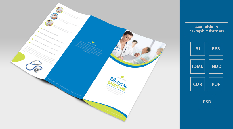 Tri fold medical brochure template design in ai eps pdf for Pdf brochure templates