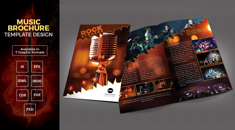 A Music BiFold Brochure Template Design In Ai Eps Cdr Pdf