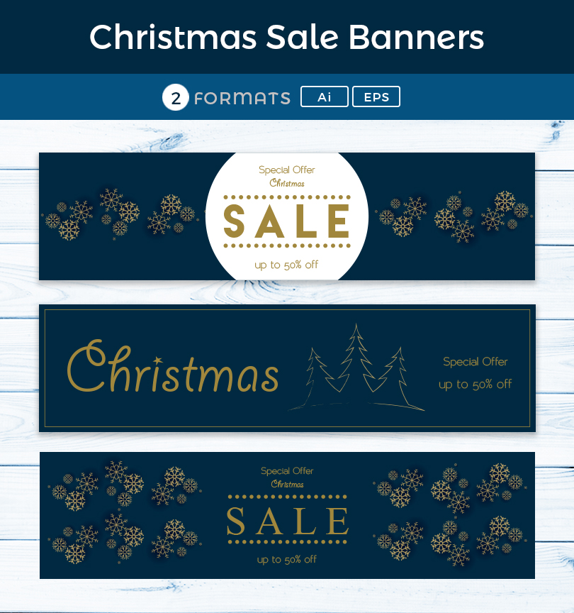 Christmas Sale Web Banners in Ai, EPS Format