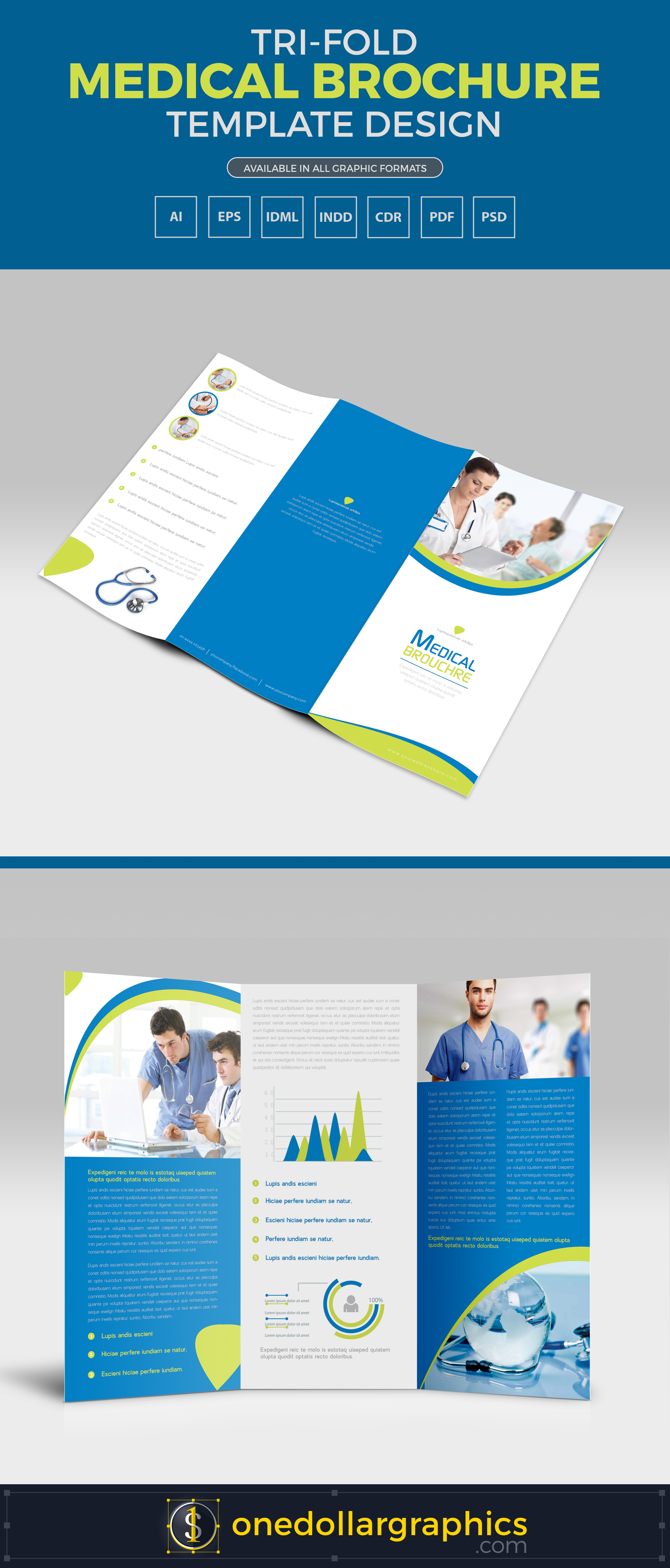 TriFold Medical Brochure Template Design In Ai EPS PDF CDR - Ai brochure template