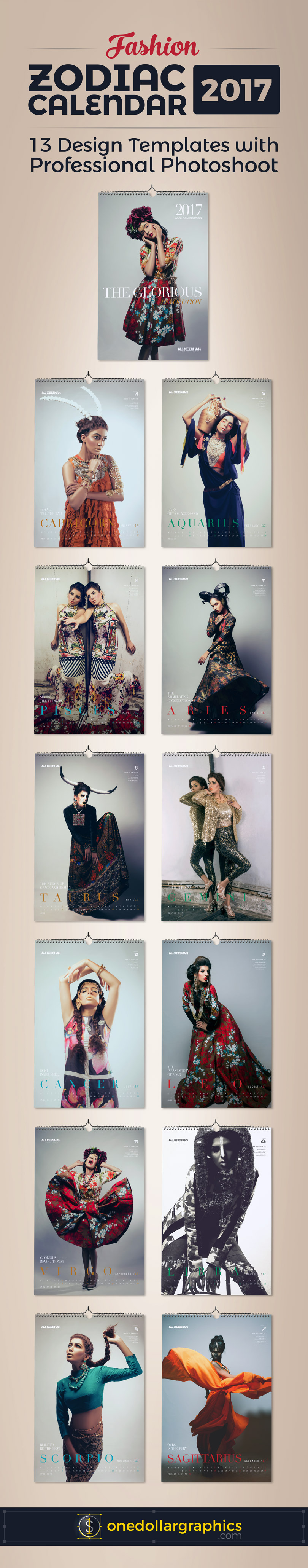 Calendar Design Zodiac : Zodiac signs fashion wall calendar design template