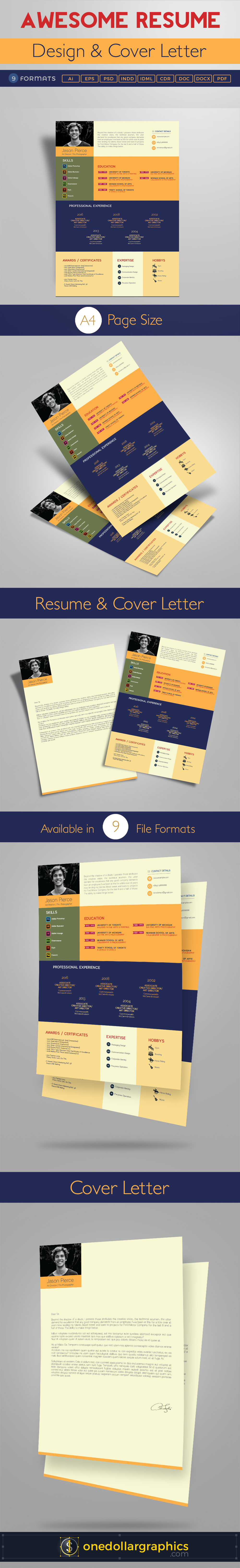awesome resume  cv  design  cover letter template  4 psd