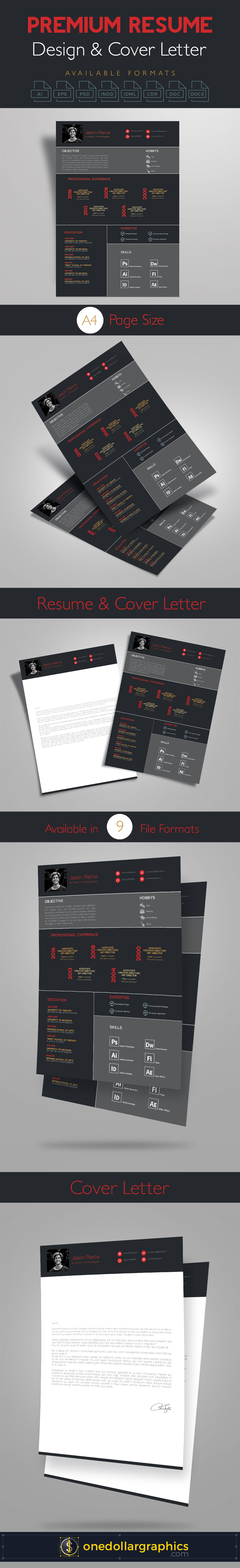 premium resume cv design cover letter template