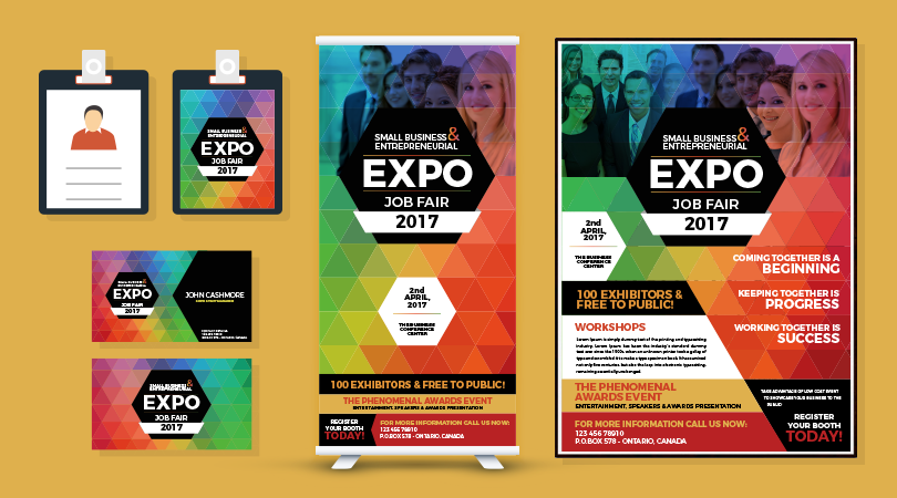Professional-Job-Expo-Job-Fair-Flyer,-Business-Card,-I.D-Card-&-Standy-Design-Templates-01