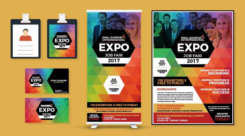 Professional Expo Job Fair Flyer Business Card I D Card