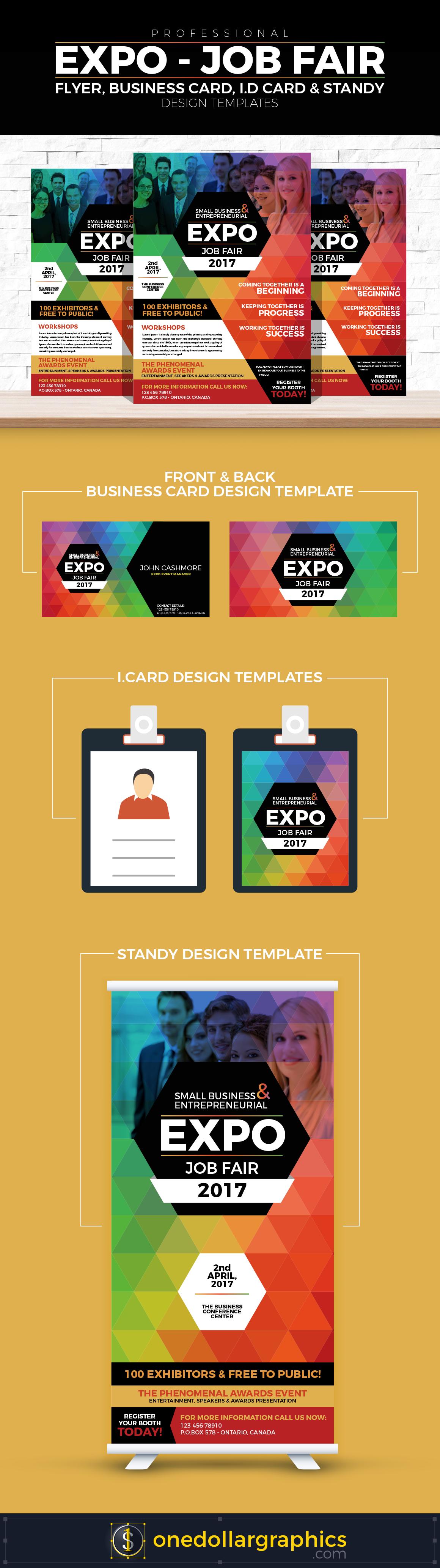 Professional-Job-Expo-Job-Fair-Flyer,-Business-Card,-I.D-Card-&-Standy-Design-Templates
