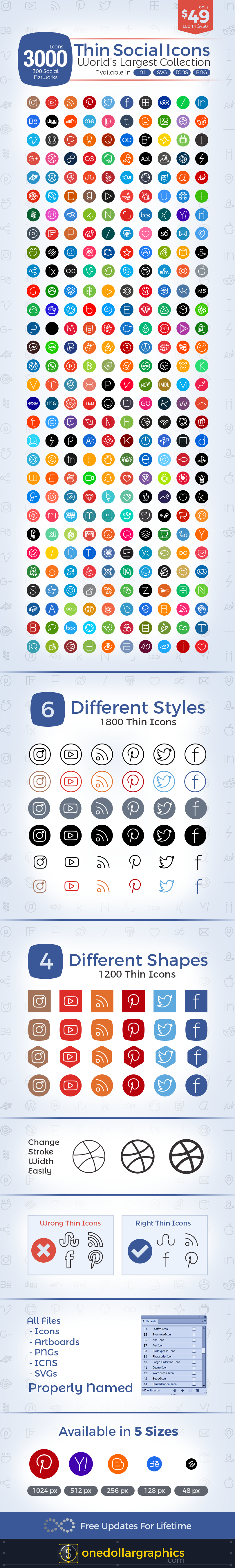 3000-Thin-Social-Media-Icons-set