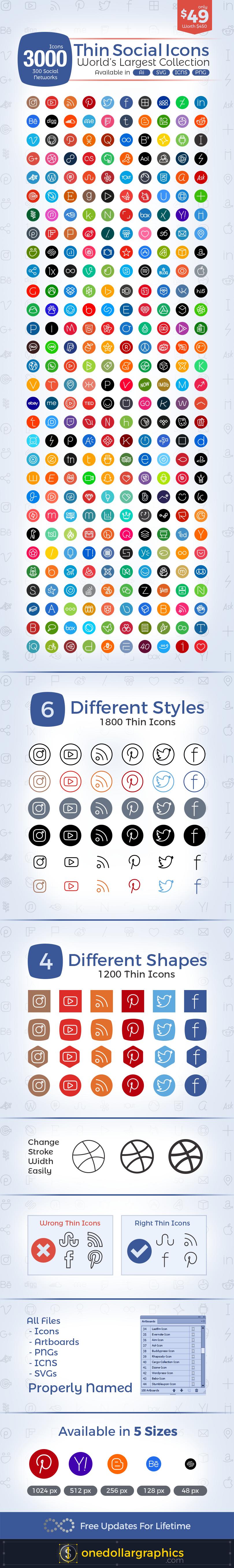 3000-Thin-Social-Media-Icons-set