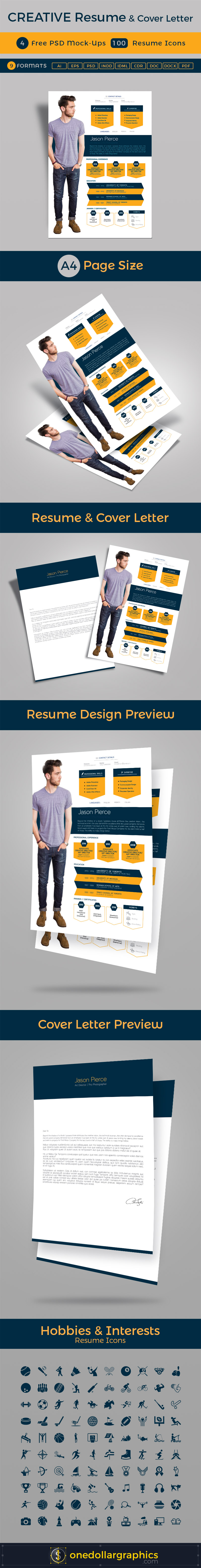 Creative Resume Cv Design Cover Letter Template 4 Psd Mock Ups