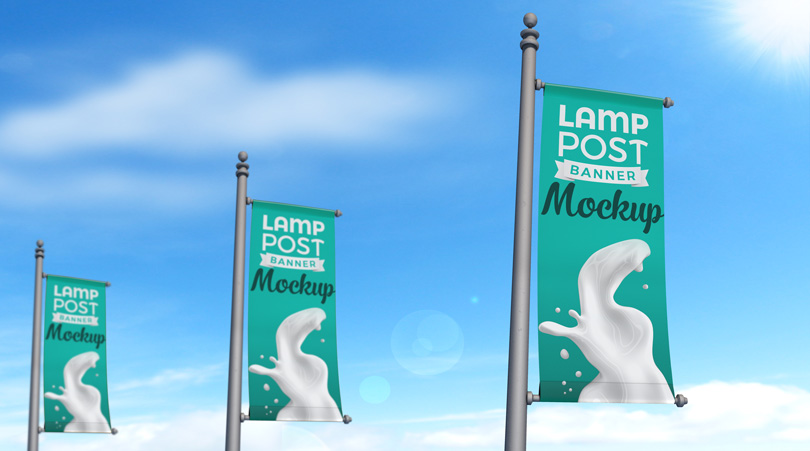realistic lamp post banner psd outdoor advertising mockup with custom background
