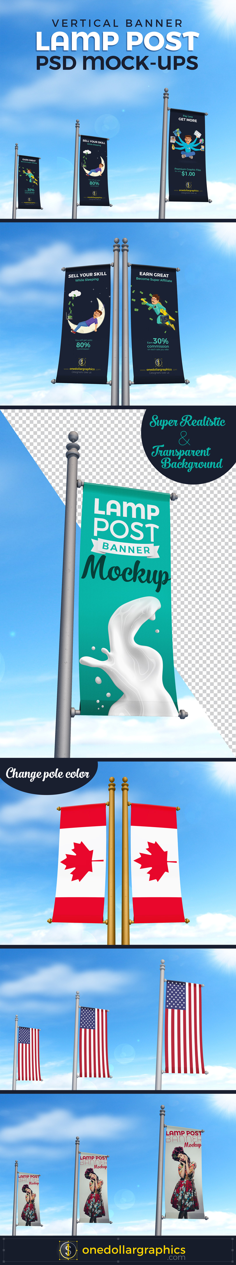 Realistic Lamp Post Banner PSD Mock-ups