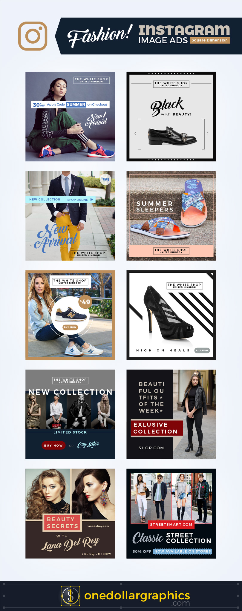 10 Fashion Instagram Web / Image Advertising Banner Template Designs ...