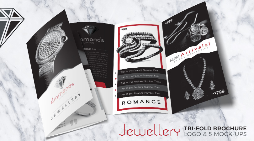 Jewellery Tri-Fold Brochure & Logo Design Template With 5 Mock-Up